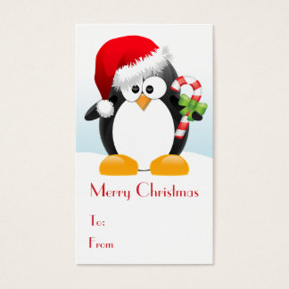Christmas Penguin with Candy Cane Gift Tags