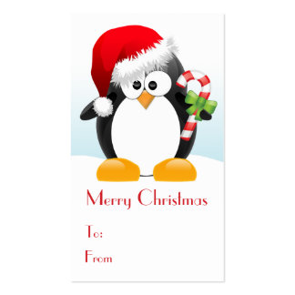 Christmas Penguin with Candy Cane Gift Tags Business Card Templates