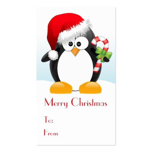 Christmas penguin with candy cane gift tags business card for Penguin christmas cards homemade