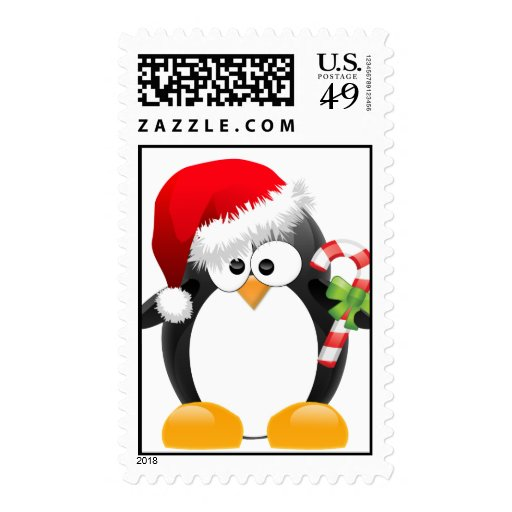 Christmas Penguin with Candy Cane Postage Stamps
