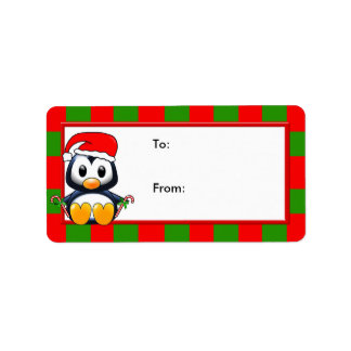 Christmas Penguin with Candy Canes & Santa Hat Personalized Address Label