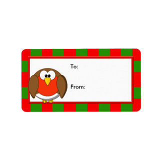 Christmas Penguin with Candy Canes & Santa Hat Label