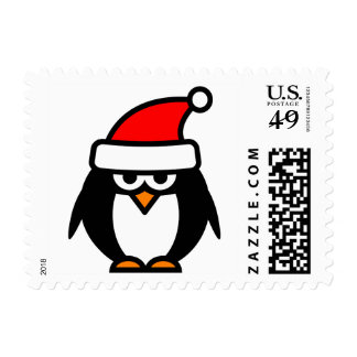 Christmas penguin with funny Santa hat stamps