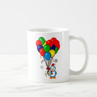 Christmas Penguin with Heart Balloons Coffee Mug