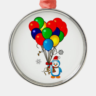 Christmas Penguin with Heart Balloons Round Metal Christmas Ornament