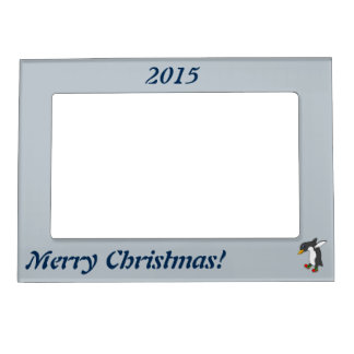 Christmas Penguin with Red & Green Ice Skates Magnetic Frame