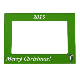 Christmas Penguin with Red & Green Ice Skates Magnetic Photo Frame