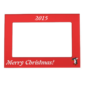 Christmas Penguin with Red & Green Ice Skates Magnetic Picture Frame