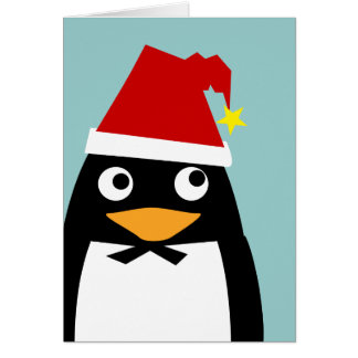 Christmas Penguin with Santa Hat Card