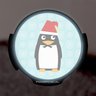 Christmas Penguin with Santa Hat LED Window Decal