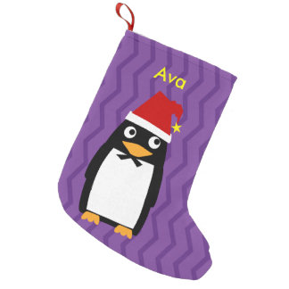 Christmas Penguin with Santa Hat Small Christmas Stocking