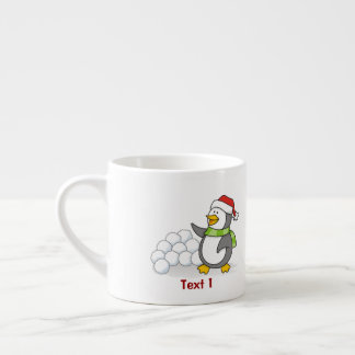 Christmas penguin with snow balls waving espresso cup