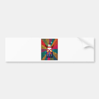 Christmas Penguin with Snowflakes and Colorful Ray Bumper Sticker