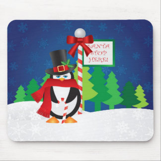 Christmas Penguin with Top Hat and Scarf Mousepad