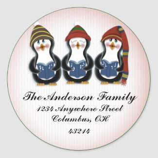 Christmas Penguins 1 - Christmas Address Labels sticker