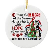 Christmas Penguins AIDS HIV Ceramic Ornament