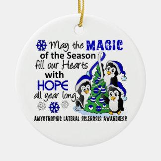 Christmas Penguins ALS Lou Gehrig's Disease Ceramic Ornament
