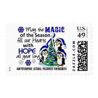 Christmas Penguins ALS Lou Gehrig's Disease Postage Stamp