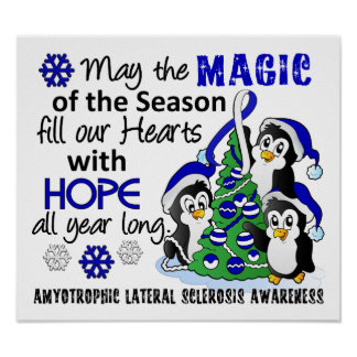 Christmas Penguins ALS Lou Gehrig's Disease Poster