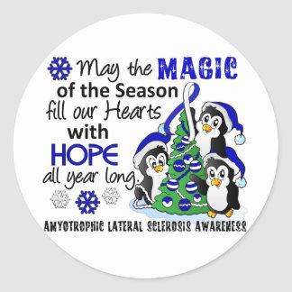 Christmas Penguins ALS Lou Gehrig's Disease Round Stickers