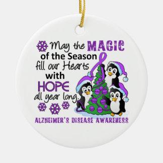 Christmas Penguins Alzheimer's Disease Ceramic Ornament