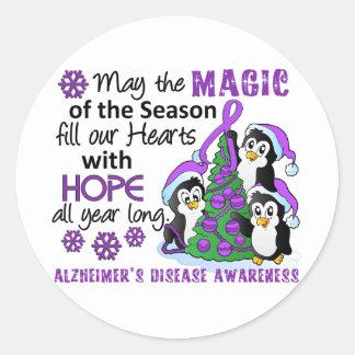 Christmas Penguins Alzheimer's Disease Classic Round Sticker