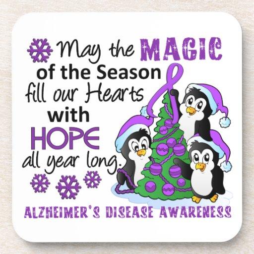 Christmas Penguins Alzheimer's Disease Coaster