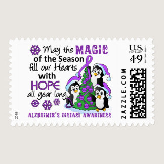 Christmas Penguins Alzheimer's Disease Postage