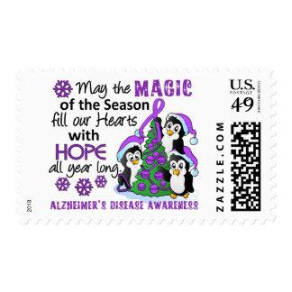 Christmas Penguins Alzheimer's Disease Postage Stamps