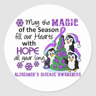 Christmas Penguins Alzheimer's Disease Classic Round Sticker