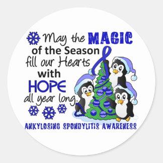 Christmas Penguins Ankylosing Spondylitis AS Classic Round Sticker
