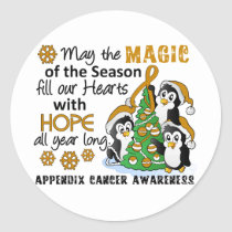 Christmas Penguins Appendix Cancer Classic Round Sticker