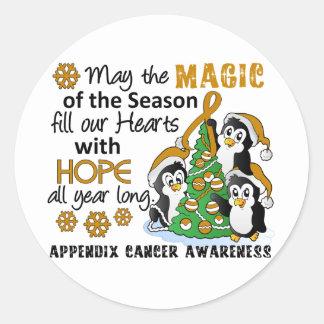 Christmas Penguins Appendix Cancer Round Sticker