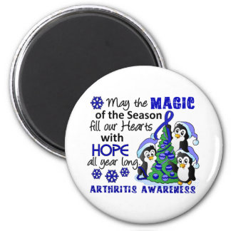 Christmas Penguins Arthritis 2 Inch Round Magnet