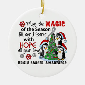 Christmas Penguins Brain Cancer Ceramic Ornament