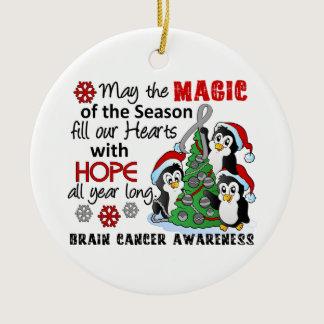 Christmas Penguins Brain Cancer Ceramic Ornament
