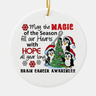 Christmas Penguins Brain Cancer Ornaments