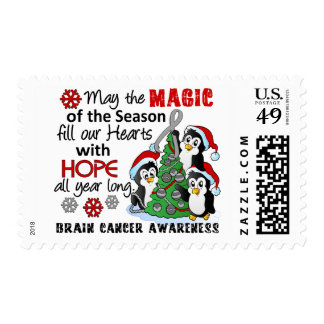 Christmas Penguins Brain Cancer Postage