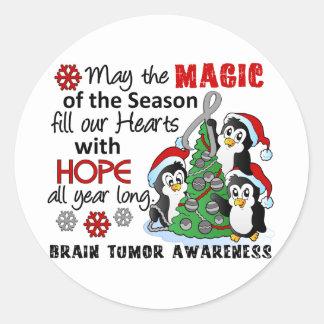 Christmas Penguins Brain Tumor Round Stickers