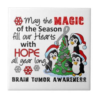 Christmas Penguins Brain Tumor Ceramic Tile