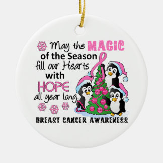 Christmas Penguins Breast Cancer Ceramic Ornament