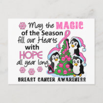 Christmas Penguins Breast Cancer Holiday Postcard
