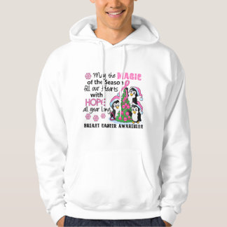 Christmas Penguins Breast Cancer Hoodie