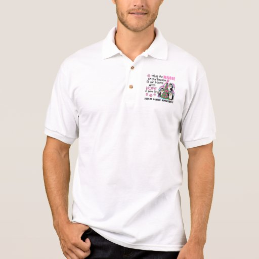 Christmas Penguins Breast Cancer Polo T-shirts