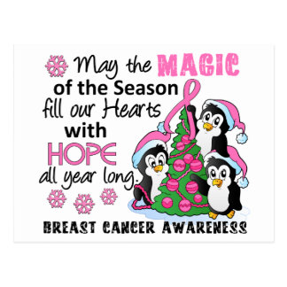 Christmas Penguins Breast Cancer Postcard