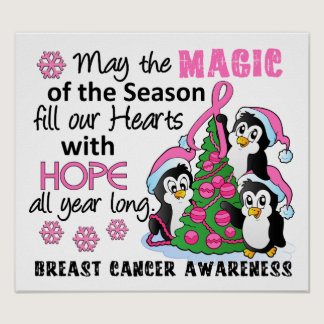 Christmas Penguins Breast Cancer Poster