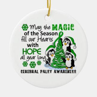 Christmas Penguins Cerebral Palsy Ceramic Ornament