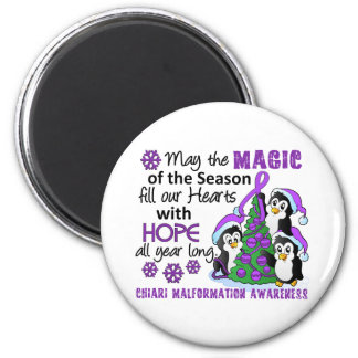 Christmas Penguins Chiari Malformation 2 Inch Round Magnet
