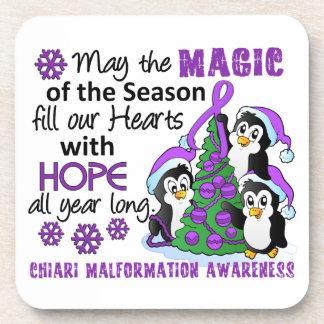 Christmas Penguins Chiari Malformation Beverage Coasters