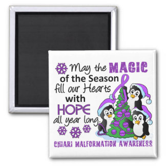 Christmas Penguins Chiari Malformation 2 Inch Square Magnet